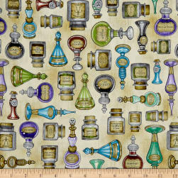 QT Fabrics Spellbound Potions Cream Fabric