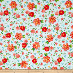 QT Fabrics All A Flutter Floral White Fabric