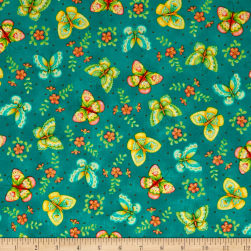 QT Fabrics All A Flutter Butterflies Teal Fabric