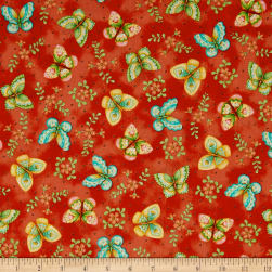 QT Fabrics All A Flutter Butterflies Tomato Fabric