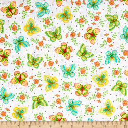 All A Flutter Butterflies White Fabric