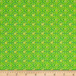 QT Fabrics All A Flutter Quatrefoil Green Fabric