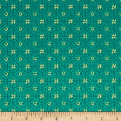 QT Fabrics All A Flutter Quatrefoil Teal Fabric