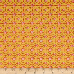 QT Fabrics All A Flutter Quatrefoil Yellow Fabric