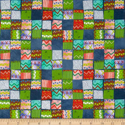 QT Fabrics Alpaca Picnic Blanket Patches Navy Fabric