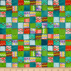 QT Fabrics Alpaca Picnic Blanket Patches Teal Fabric