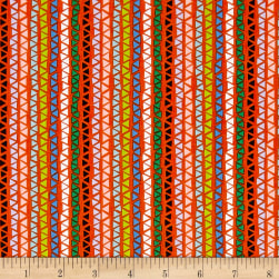 QT Fabrics Alpaca Picnic Triangle Stripe Orange Fabric