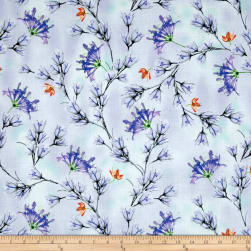 QT Fabrics Belle Floral Branches Periwinkle Fabric