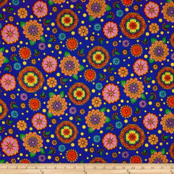 QT Fabrics Carnivale Large Flowers Royal Fabric
