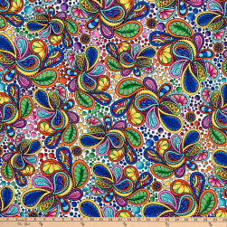 QT Fabrics Carnivale Packed Paisleys White