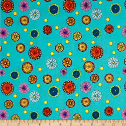 QT Fabrics Carnivale Small Tossed Flowers Turquoise Fabric