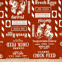 Fowl Play Feed Sak Red Fabric