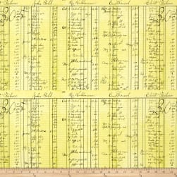 QT Fabrics Fowl Play General Store Ledger Yellow