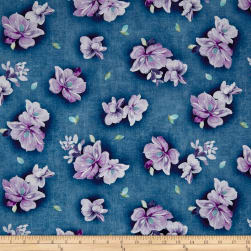 QT Fabrics Jacqueline Tossed Flowers Denim Fabric