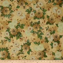QT Fabrics Manor House Floral Taupe Fabric