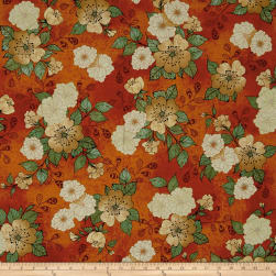 QT Fabrics Manor House Floral Burnt Orange Fabric