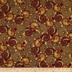 QT Fabrics Manor House Paisley Tan Fabric