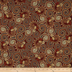 QT Fabrics Manor House Paisley Maroon Fabric