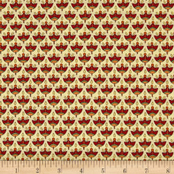 QT Fabrics Manor House Foulard Cream/Brick Fabric
