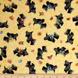 QT Fabrics Mary's Journey Scotties Yellow Fabric