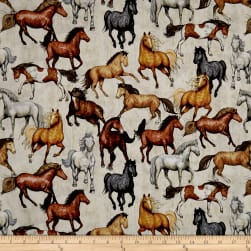 QT Fabrics Dan Morris Mustang Sunset Mustangs Cream