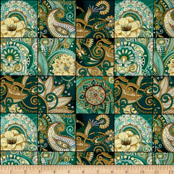 QT Fabrics Portofino Floral Paisley Patch Teal Fabric