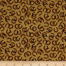 QT Fabrics Round 'Em Up Horseshoes Dark Chamois