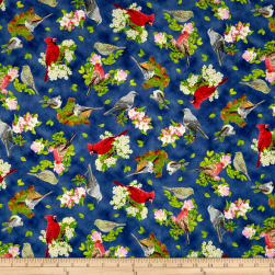 QT Fabrics Songs Of Nature Songbird Toss Navy