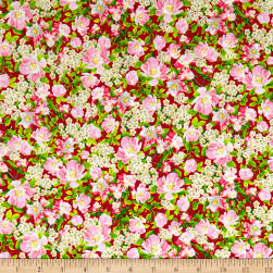 QT Fabrics Songs Of Nature Packed Dogwood Red