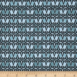 QT Fabrics Splendid Swans Scroll Geo Blue Fabric