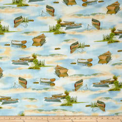 Tranquility Boats On Water Blue Fabric