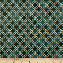 QT Fabrics Tranquility Scroll Trellis Slate Blue Fabric
