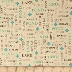 QT Fabrics Tranquility Word Blender Cream Fabric