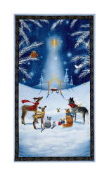 Woodland Dream Nativity 24'' Panel Blue Fabric