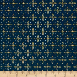 QT Fabrics Woodland Dream Star Foulard Navy Fabric