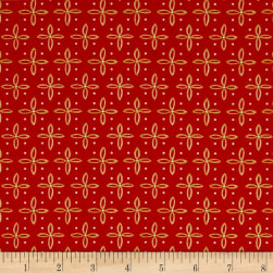 QT Fabrics Woodland Dream Star Foulard Red Fabric