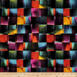 QT Fabrics Moxie Square Geometric Black Fabric
