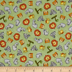 Jungle Buddies Tossed Animal Heads Green Fabric