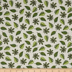 QT Fabrics Jungle Buddies Leaves Cream Fabric