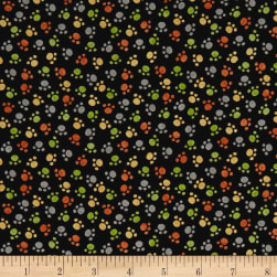QT Fabrics Jungle Buddies Paw Prints Black Fabric