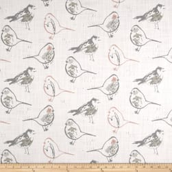 Premier Prints Bird Toile Slub Canvas Blush Fabric