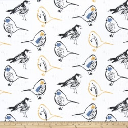 Premier Prints Bird Toile Slub Canvas Brazilian Yellow