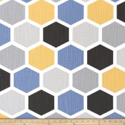 Premier Prints Hexagon Slub Canvas Brazilian Yellow Fabric