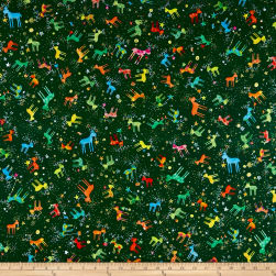 QT Fabrics Holiday Minis Reindeer Forest Fabric