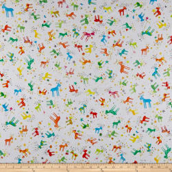 QT Fabrics Holiday Minis Reindeer White Fabric