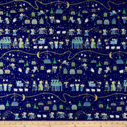 QT Fabrics Holiday Minis Nativity Navy Fabric