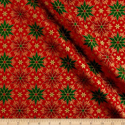 Miracle In Bethlehem Geo Poinsettias Gold Metallic/Red Fabric