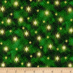 Miracle In Bethlehem Sparkling Stars Gold Metallic/Green Fabric