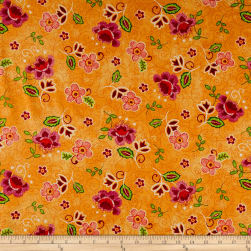 Ink & Arrow Olivia Tossed Flower Orange Fabric