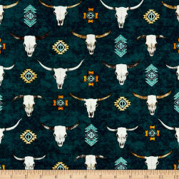 QT Fabrics Southwest Soul Longhorns Teal Fabric